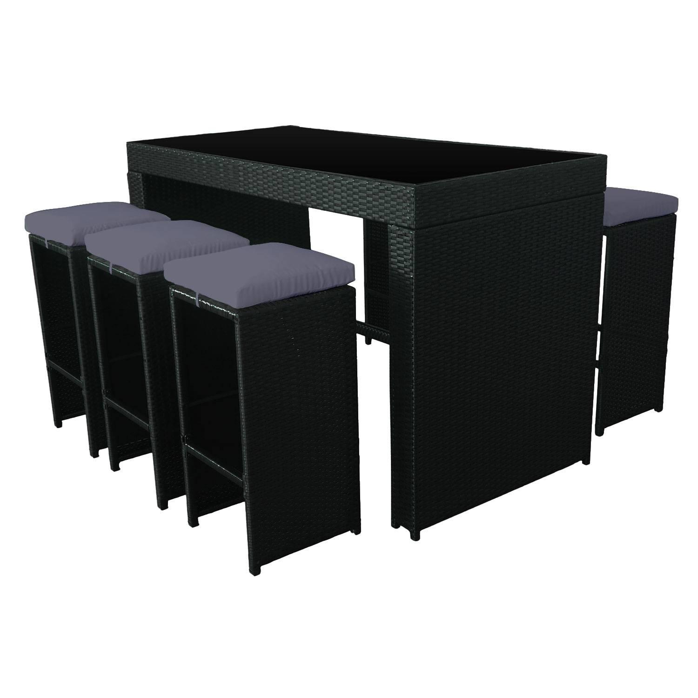 Salon De Jardin Table 160 + 6 Chaises Aluminium Gris