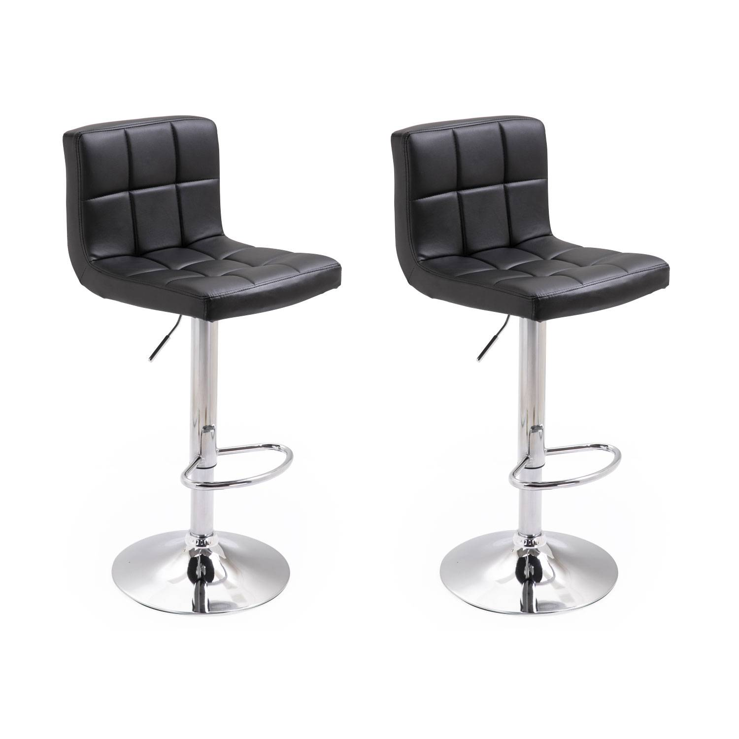 Tabourets De Bar Simili Cuir Noir Lot De 2 Tabourets De Bar Noir Mike