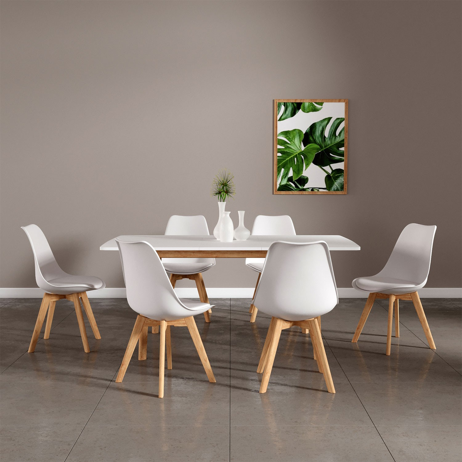 Table 120 Extensible Ensemble Table Et 6 Chaises Scandinaves Blanches Nora