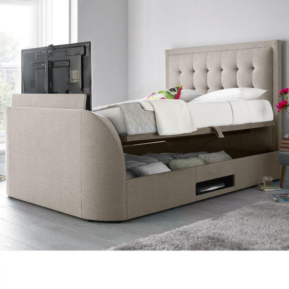 King Size Tv Bed Metro Oatmeal Fabric Ottoman Tv Bed