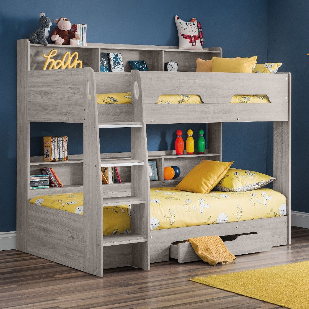 Orion Grey Oak Wooden Storage Bunk Bed Frame 3ft Single