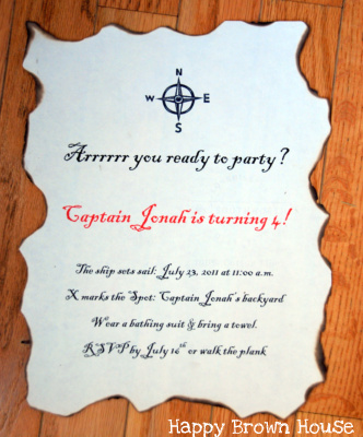 Message-in-a-Bottle Pirate Birthday Invitations
