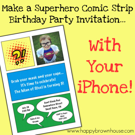 How to Make a Superhero Birthday Party Comic Strip Invitation with