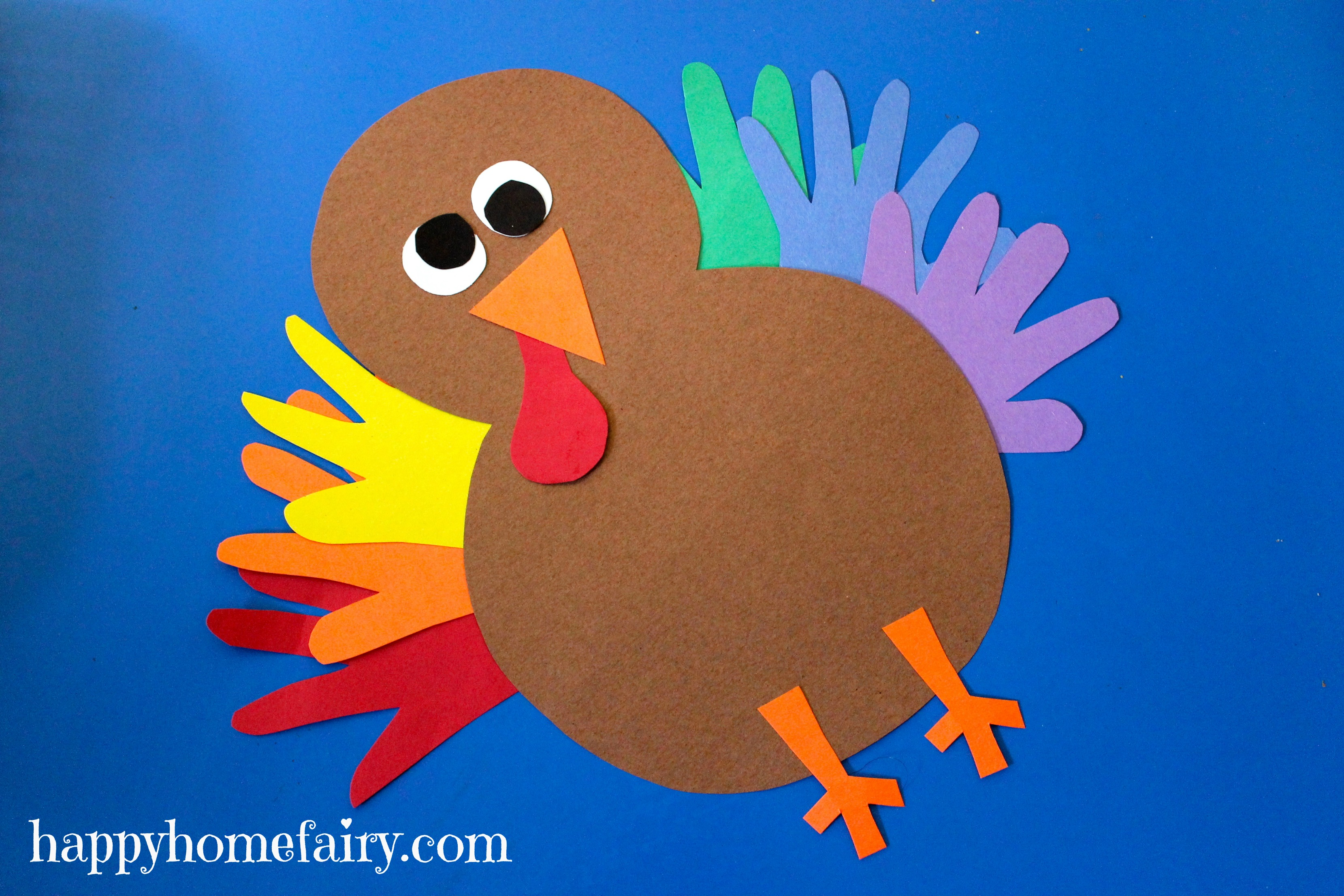 Thankful handprint turkey craft free printable happy for Thanksgiving turkey arts and crafts