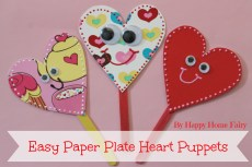 Easy Paper Plate Heart Puppets
