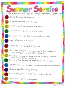 Summer Service Ideas – FREE Printable