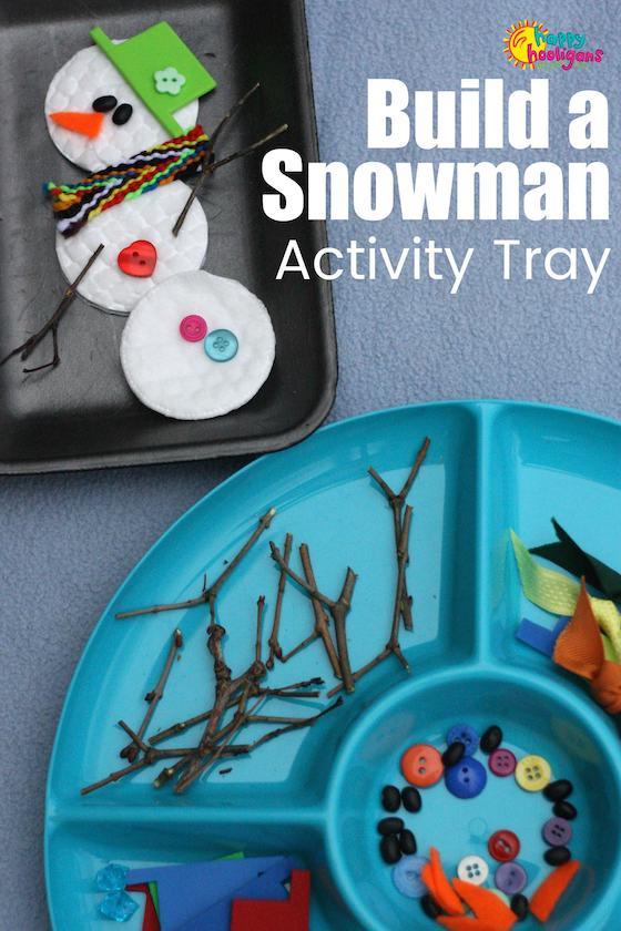 Snowman Activity Tray Activity for Kids - Happy Hooligans