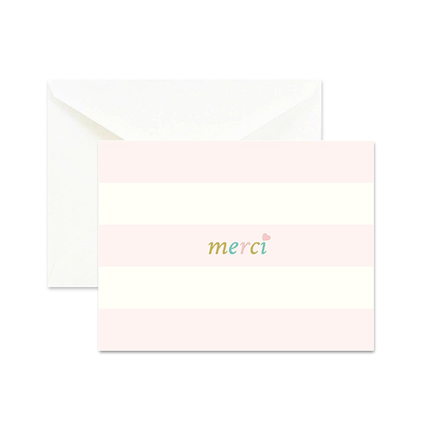 Merci Pink Parisian Note Cards - Happy Rosy Day