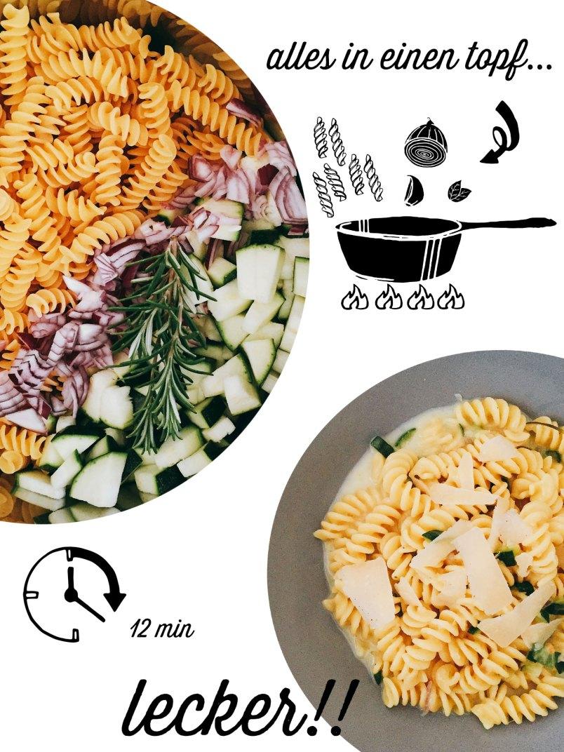 one pot pasta rezept aus dem gleichnamigen buch von stefanie hiekmann, emf verlag 2016, rezensiert von happy serendipity