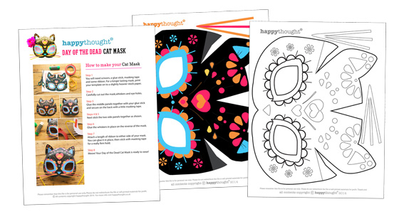 Cat calavera mask template for Day of the Dead Dress up parties +