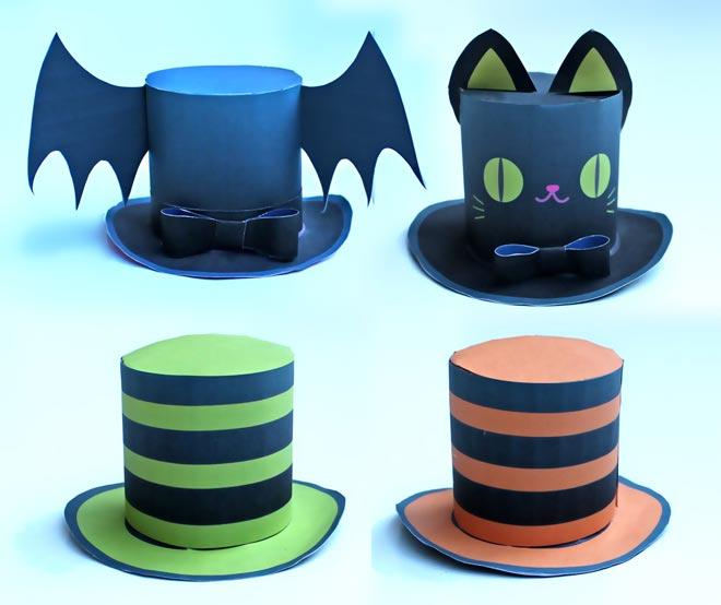 Cute Halloween mini top hat; 4 DIY printable Easy to make!