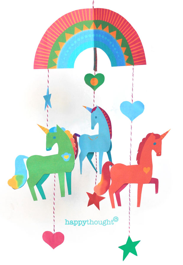 Unicorn mobile Create your own mobile with DIY instruction and template!
