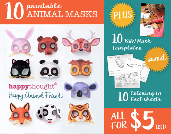 Animal mask templates to print and play Meow! Cat template + DIY