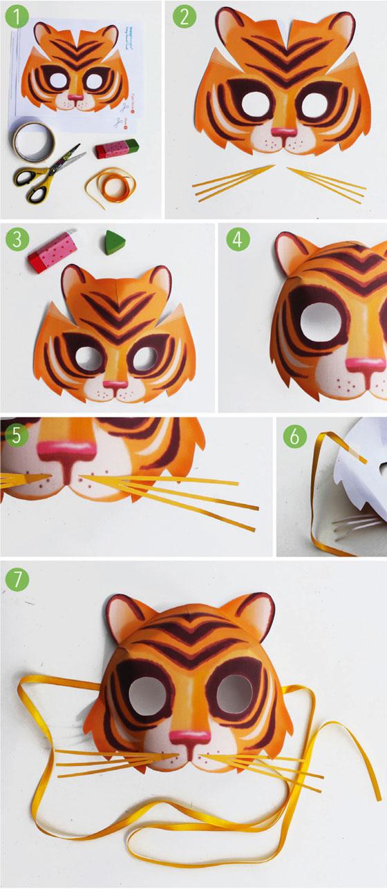 Easy to make printable tiger mask - Animal mask templates!