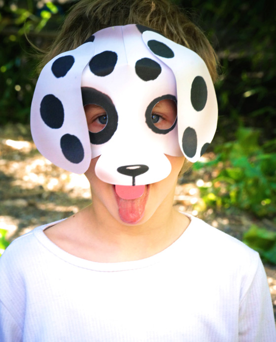 Printable dog mask template, patterns, worksheets + activities!