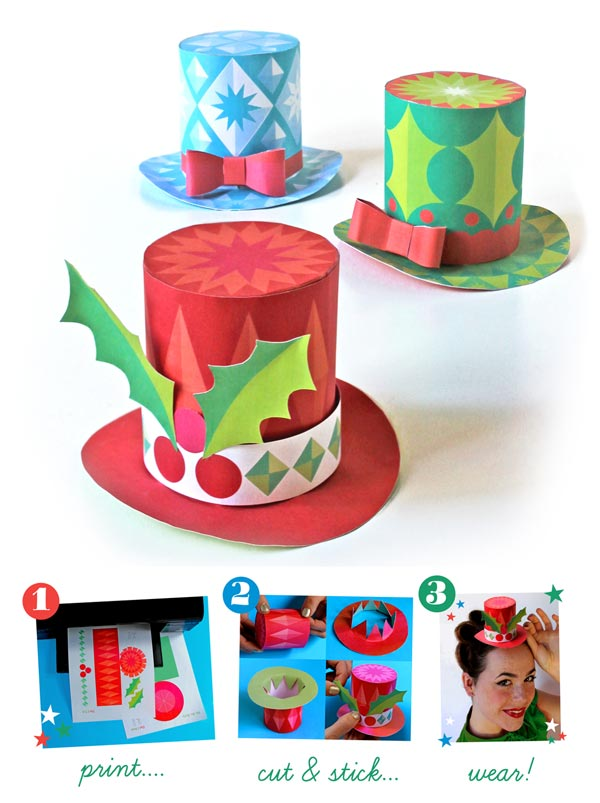 Mini paper top hat templates Members free to print + make for Holidays!