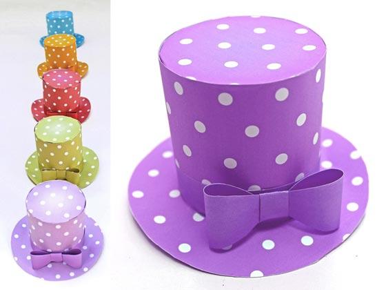 Polka dot mini top hat 5 DIY printable templates to download!