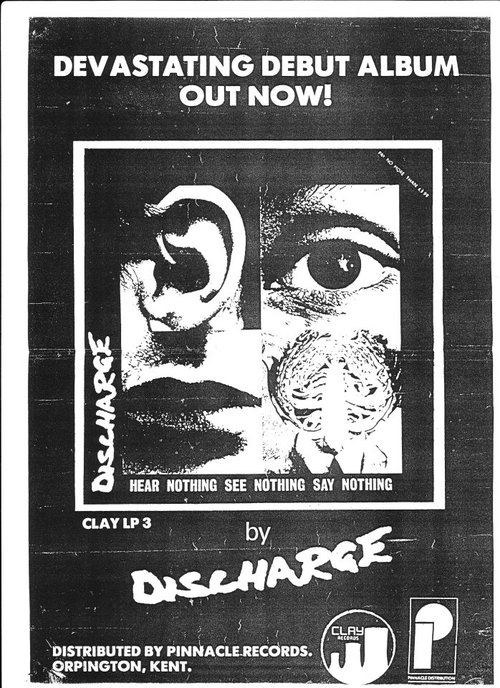 Oranje Band Hardcore Show Flyers – Discharge-hear Nothing See Nothing