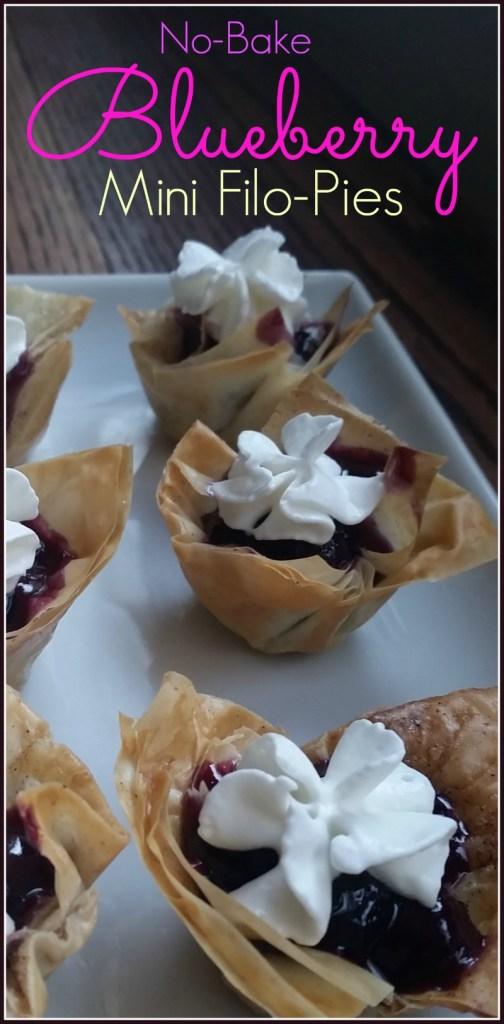 no bake blueberry and filo mini pie