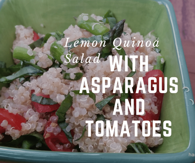 lemon quinoa salad with tomato and asparagus