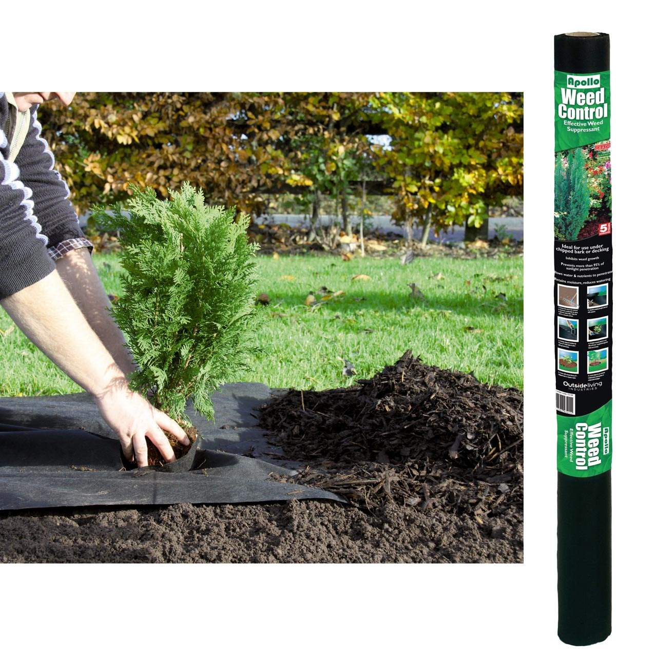 Black Bark Mulch Apollo 20m X 1m Weed Control Black For Under Bark Mulch