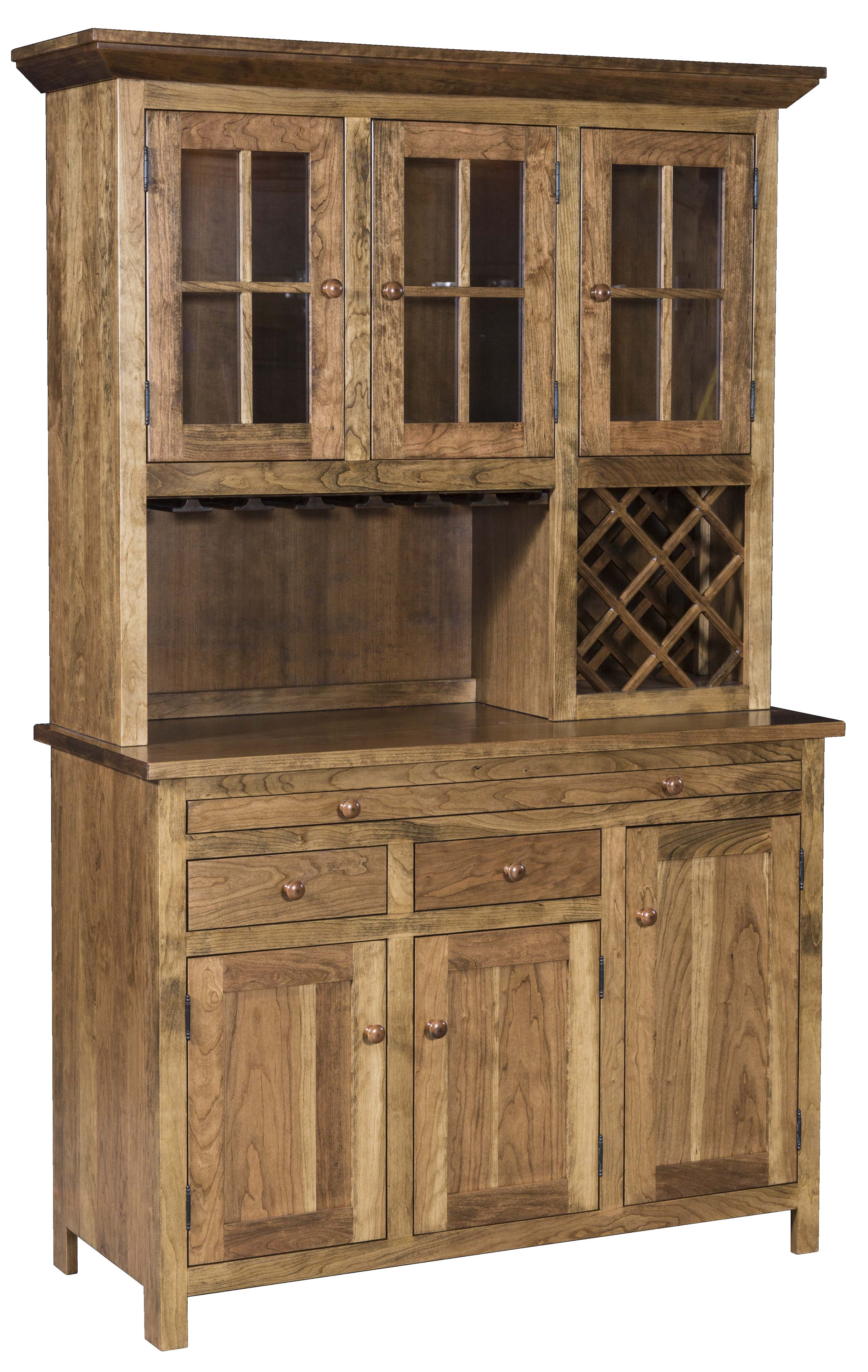 Buffet Sideboard With Glass Doors Shaker Wine Hutch | Hardwood Creations
