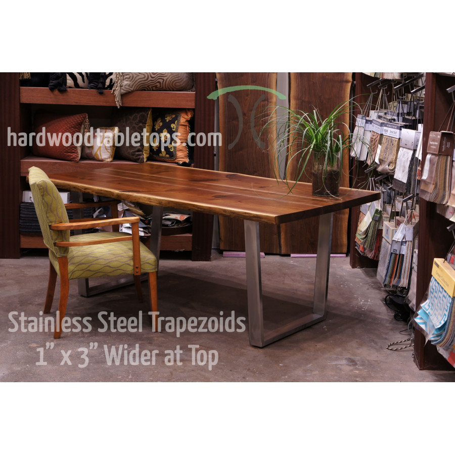Timber Table Legs Custom Made Steel And Stainless Trapezoid And U Shaped Legs