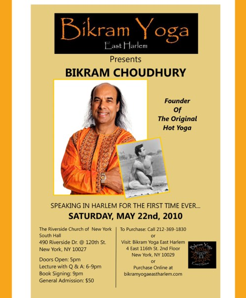 Bikram Choudhury to speak in Harlem