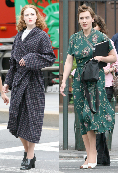 katewinerwhbo Kate Winslet and Evan Rachel Wood on set in Harlem for HBO&#039;s Mildred Pierce