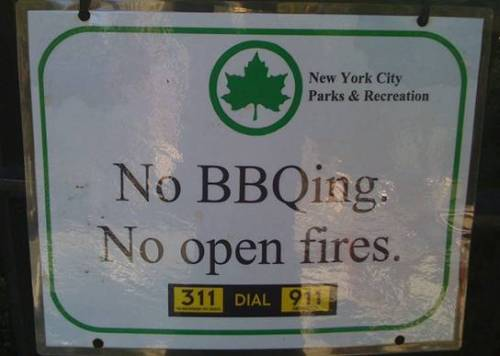 A reversal on BBQing in Morningside Park