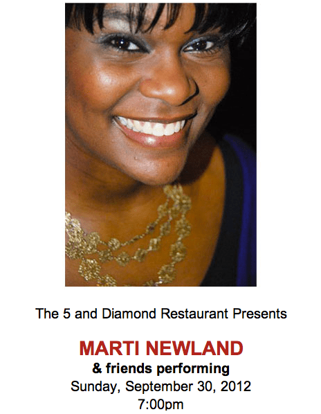 screen shot 2012 09 19 at 11 01 43 am The 5 And Diamond Presents   Marti Newland And Friends