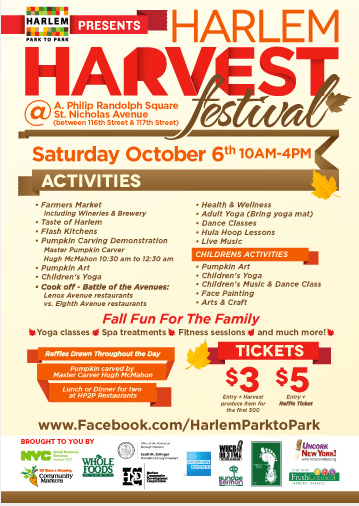 The Harlem Harvest Festival   Saturday, October 6th