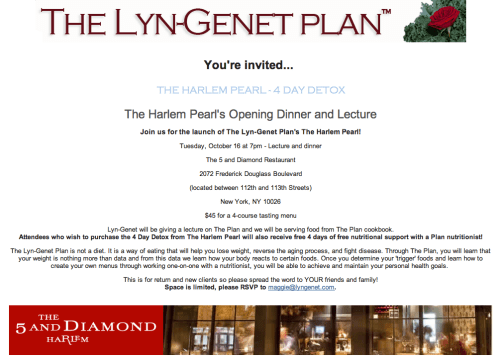 The Lyn Genet Plan / The Harlem Pearls Opening Dinner and Lecture 10 16 12