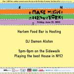 Make Music NY – Friday June 21 at Harlem Food Bar!