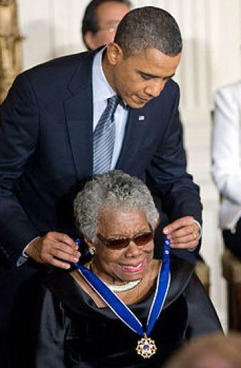 President Barack Obama presenting Maya Angelou...