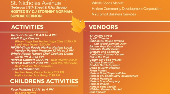 HARLEM PARK TO PARK, WHOLE FOODS MARKET AT HARLEM HARVEST FESTIVAL