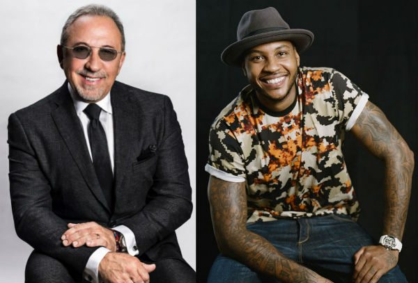 Emilio Estefan and Carmelo Anthony in harlem