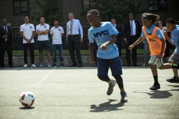 Mayor Bill de Blasio soccer initive
