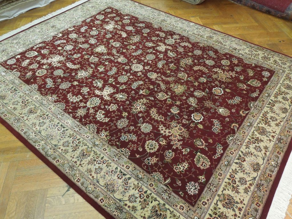 Woven Wool Rug Burgundy Hand Woven 8x10 Wool And Silk High End Area Rug Ebay