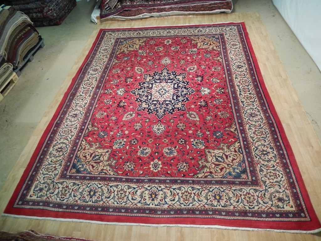 10 X 14 Area Rugs Red Ivory Tabriz Rug Oriental Design Handmade 10x14 Ft