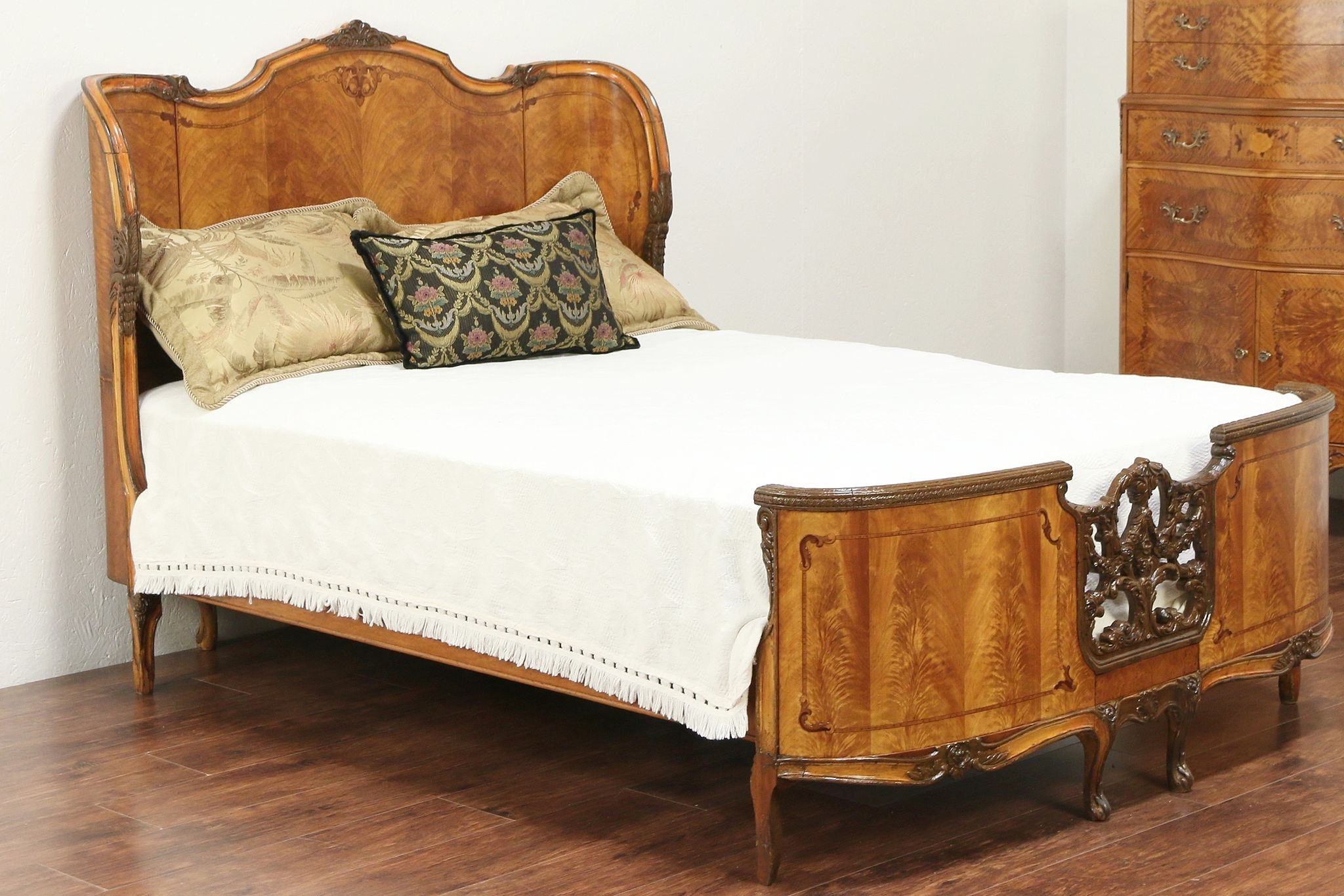 Double Size Bed Satinwood Marquetry Antique Carved Full Or Double Size Bed 29833