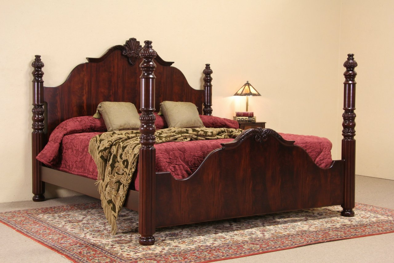 High Poster Bed King Sold Carved Vintage King Size Mahogany Poster Bed Harp