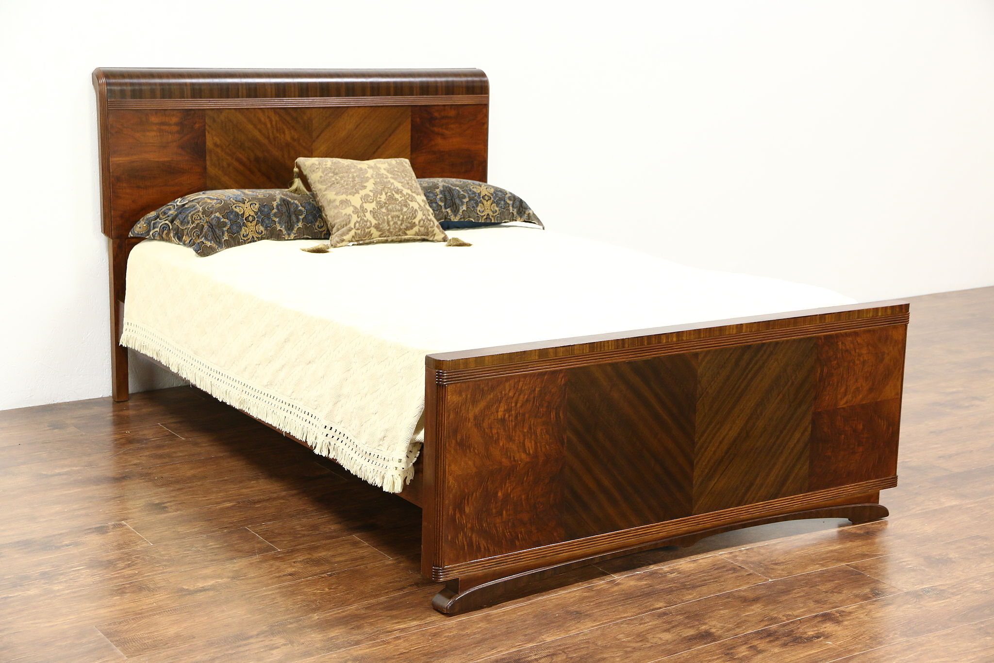 Double Size Bed Art Deco Waterfall Mahogany Burl 1935 Vintage Full Double Size Bed