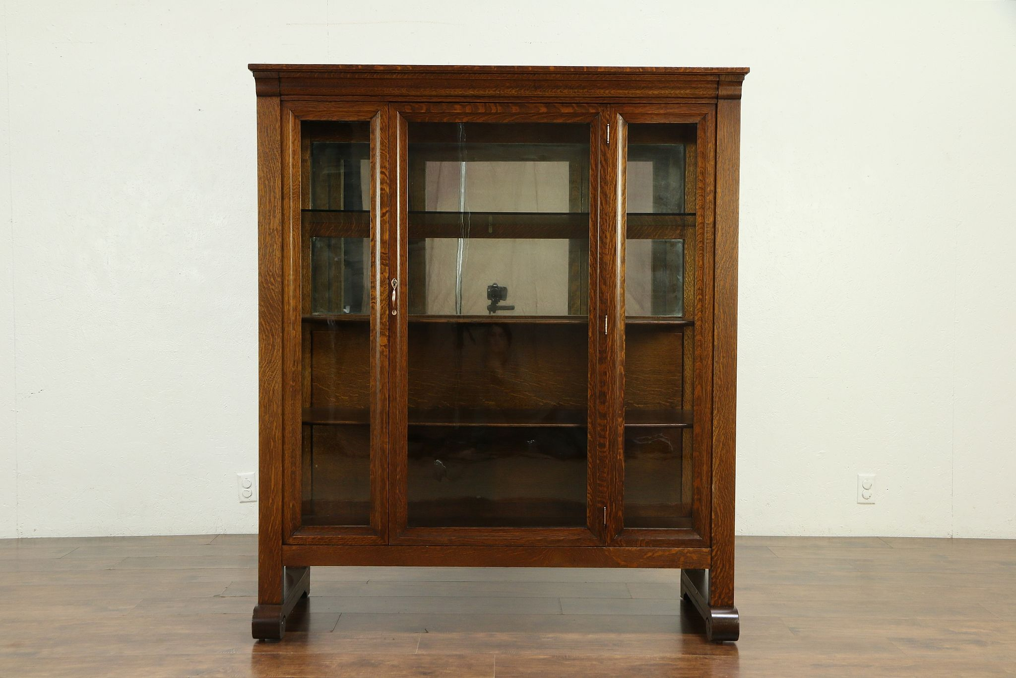 Bookcase Cabinet Oak Quarter Sawn Antique China Display Cabinet Or Bookcase Wavy Glass 30157