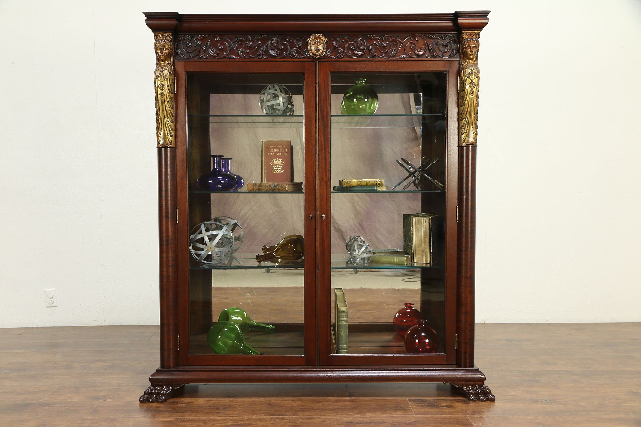 Bookcase Cabinet Mahogany Antique Library Bookcase Display Cabinet Carved Figures 30086