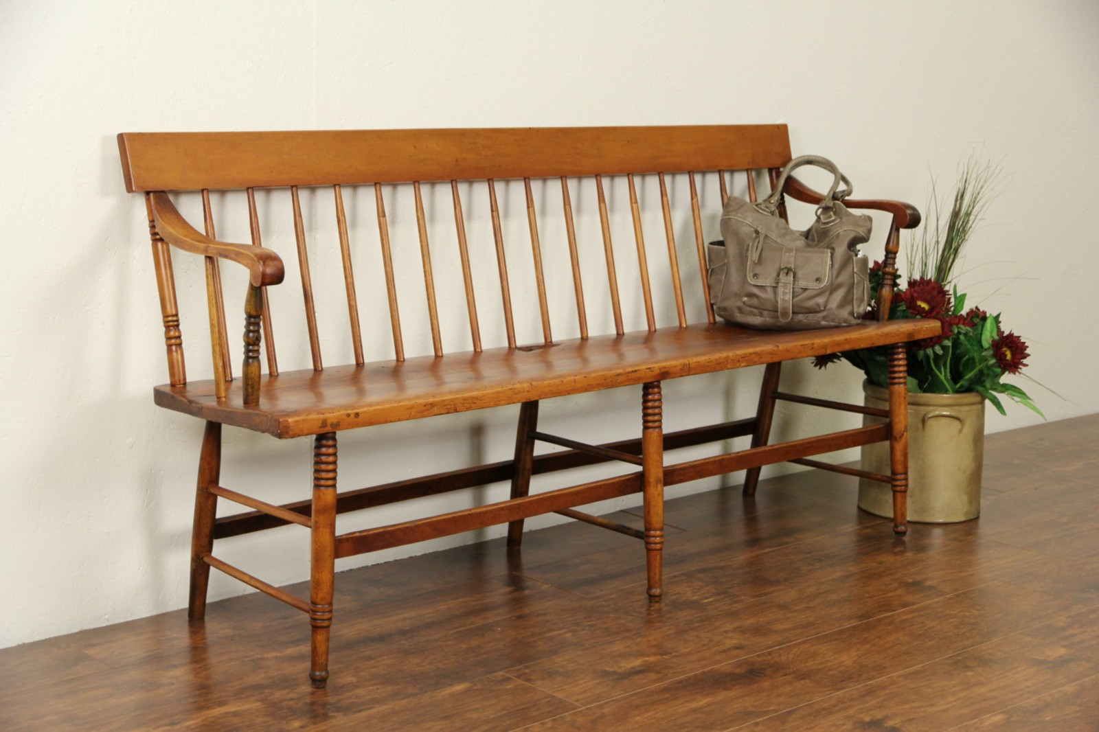 Sitzbank Industrial Sold - Country Pine 1860's Antique Hall Or Deacon Bench