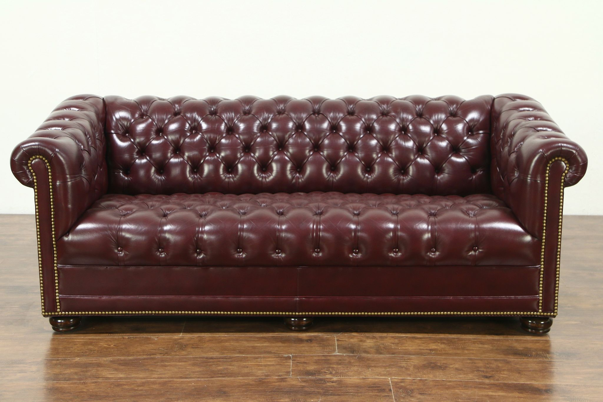 Vintage Couch Chesterfield Tufted Leather Vintage Sofa Signed Hancock Moore