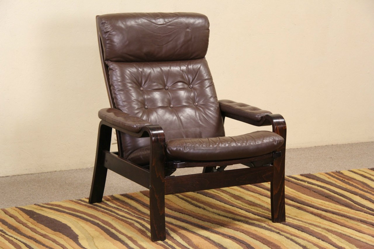 Danish Modern Leather Chair Sold Midcentury Danish Modern Leather Recliner Chair