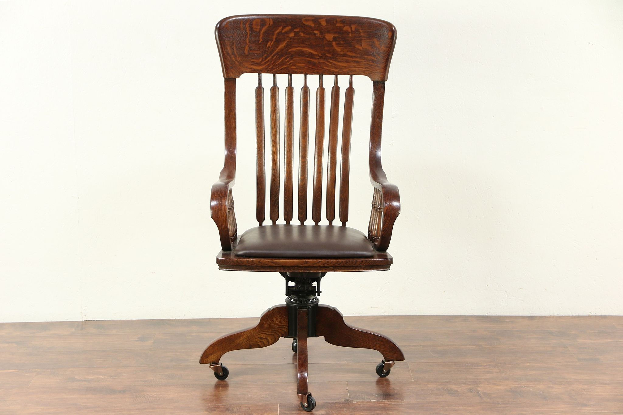 Desk Seat Victorian Oak Swivel Adjustable Desk Chair Leather Seat Signed Johnson 29519