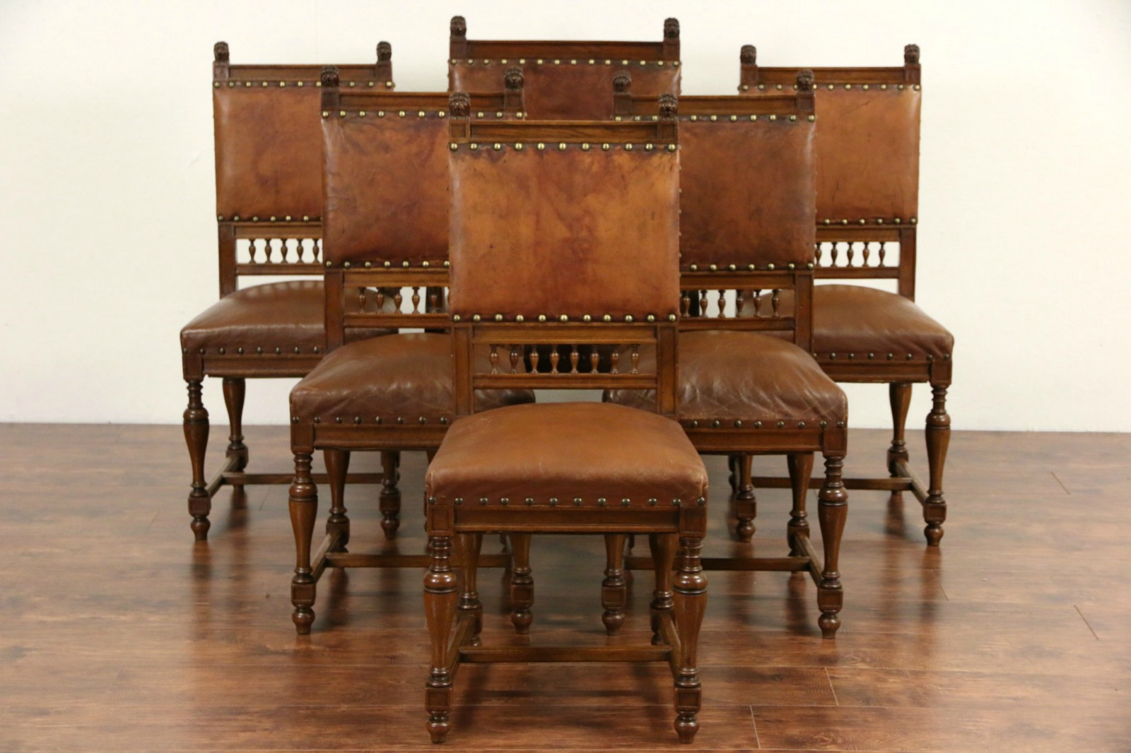 Leather Dining Room Chairs Set Of 6 Italian Antique 1890 Oak Worn Leather Dining Chairs Carved Lions